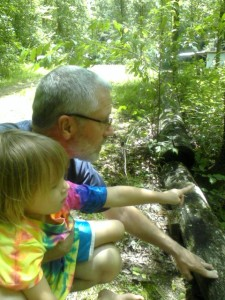 Enjoying time with my granddaughter in the woods