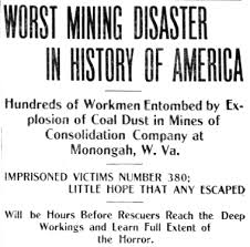 Headline tells of the disaster at Monongah