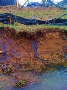 Polluted water at a fracking site in Harrison County, where Clarksburg is the county seat. Photo by Ed Wade Jr.