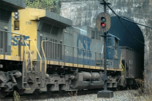 A train hauls coal east as it emerges from the Big Bend Tunnel near Talcott, W.Va.