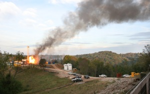 An uncontrolled gas well fire in Doddridge County.  Photo courtesy of Ed Wade Jr. and Wetzel County Action Group.