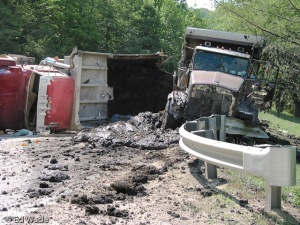 A fracking truck accident in Wetzel County, W.Va. Photo courtesy of Ed Wade Jr. and Wetzel County Action Group
