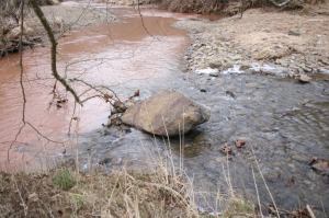 The stream on the left was polluted by runoff from fracking operations.  Photo courtesy of Ed Wade Jr. and Wetzel County Action Group