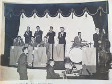 Mike Barrick directs the George Barrrick Jr. Victory Band in 1941 in Morgantown, W.Va.