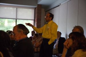 Bill Hughes with FracTracker Alliance teaches about the harms associated with fracking. Photo by Keely Kernan