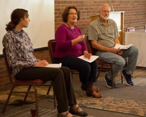 Tierra Curry (L), Susan Hedge and Allen Johnson lead a discussion on the sacredness of Appalachia. Photo by Keely Kernan