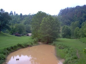Meathouse Fork in Doddridge County with heavy sediment resulting from pipeline construction