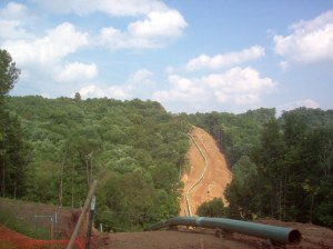 Stonewall Gathering Pipeline construction as seen from a hilltop in Doddridge County, W.Va.