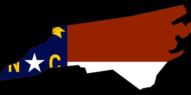 NC outline and flag