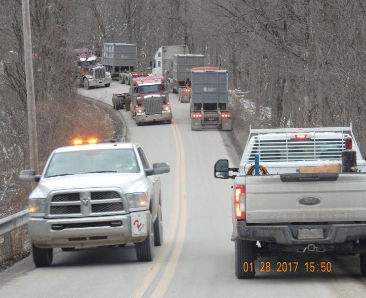 OVEC cluster of trucks
