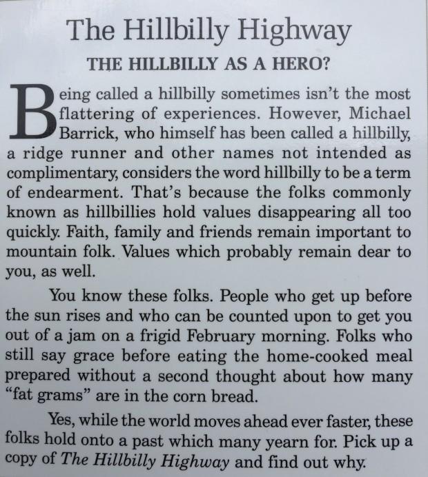 Hillbilly Highway back cover